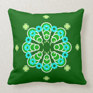 Eight point Mandala, Dark Jade Green and Aqua Throw Pillow