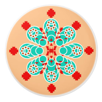 Eight point Mandala - turquoise and peach Ceramic Knob