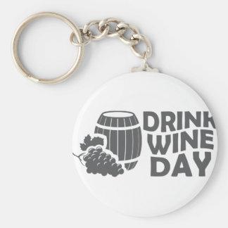 Eighteenth February - Drink Wine Day Basic Round Button Keychain