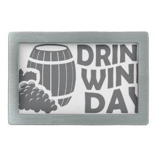 Eighteenth February - Drink Wine Day Rectangular Belt Buckle