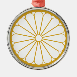 Eightfold 16 chrysanthemum Silver-Colored round ornament