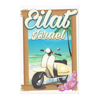 Eilat Beach Israel scooter travel poster Canvas Print