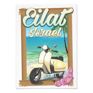 Eilat Beach Israel scooter travel poster Photographic Print