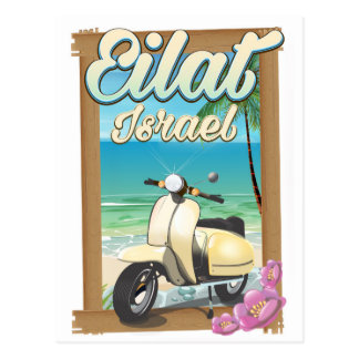 Eilat Beach Israel scooter travel poster Postcard
