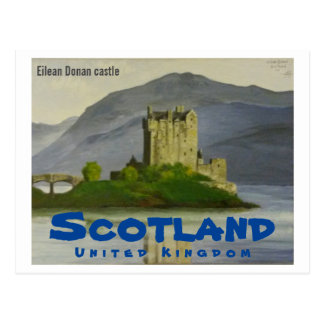 Eilean Donan castle painting - Scotland Postcard