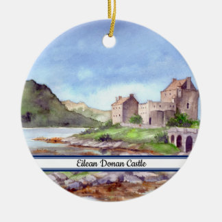 Eilean Donan Castle Watercolor Painting Ceramic Ornament