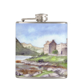 Eilean Donan Castle Watercolor Painting Hip Flask
