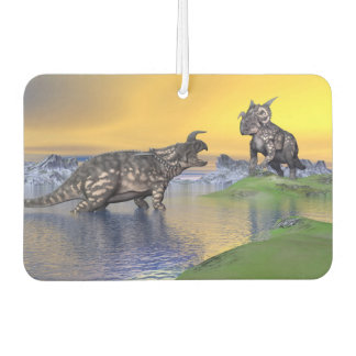 Einiosaurus dinosaurs by sunset - 3D render Air Freshener