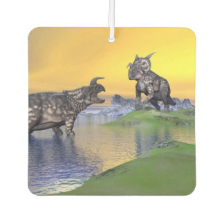 Einiosaurus dinosaurs by sunset - 3D render Car Air Freshener
