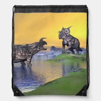 Einiosaurus dinosaurs by sunset - 3D render Drawstring Bag