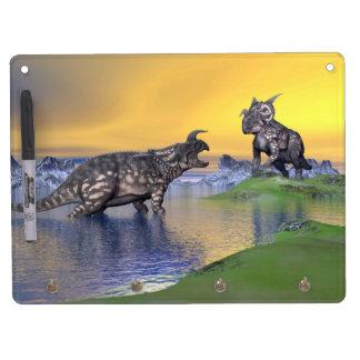 Einiosaurus dinosaurs by sunset - 3D render Dry Erase White Board