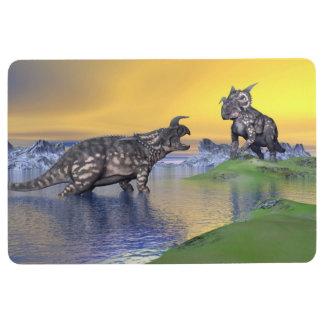 Einiosaurus dinosaurs by sunset - 3D render Floor Mat