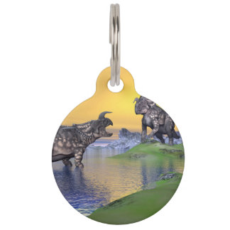 Einiosaurus dinosaurs by sunset - 3D render Pet Name Tags