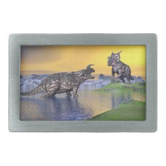 Einiosaurus dinosaurs by sunset - 3D render Rectangular Belt Buckle