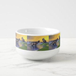 Einiosaurus dinosaurs by sunset - 3D render Soup Mug