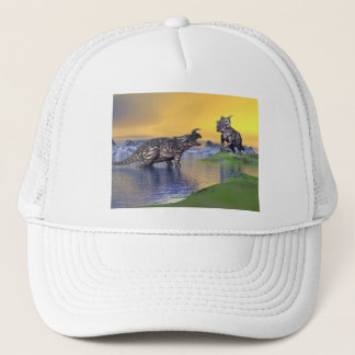 Einiosaurus dinosaurs by sunset - 3D render Trucker Hat