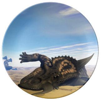 Einiosaurus dinosaurs dead porcelain plate