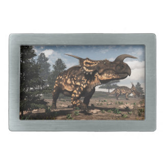 Einiosaurus dinosaurs in the desert - 3D render Belt Buckle