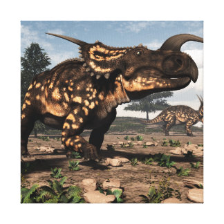 Einiosaurus dinosaurs in the desert - 3D render Canvas Print