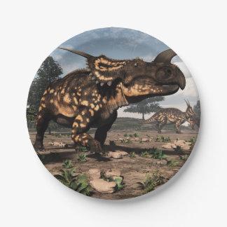 Einiosaurus dinosaurs in the desert - 3D render Paper Plate