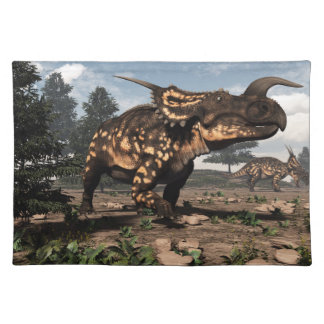 Einiosaurus dinosaurs in the desert - 3D render Placemat
