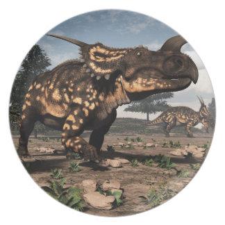 Einiosaurus dinosaurs in the desert - 3D render Plates