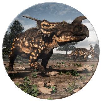 Einiosaurus dinosaurs in the desert - 3D render Porcelain Plate