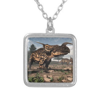 Einiosaurus dinosaurs in the desert - 3D render Silver Plated Necklace