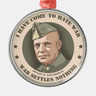 Eisenhower -War Silver-Colored Round Ornament