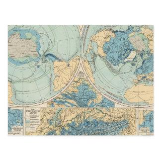 Eisverbreitung Atlas Map Postcard