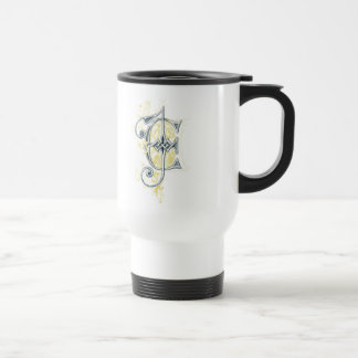 EJ or JE Vintage Monogram in Blue and Yellow 15 Oz Stainless Steel Travel Mug