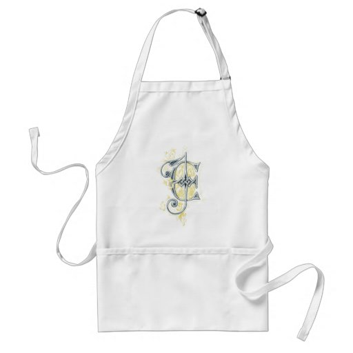 EJ or JE Vintage Monogram in Blue and Yellow Aprons
