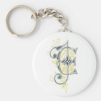 EJ or JE Vintage Monogram in Blue and Yellow Basic Round Button Keychain