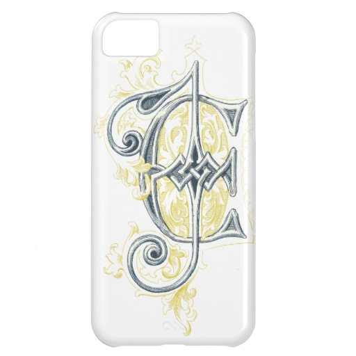 EJ or JE Vintage Monogram in Blue and Yellow iPhone 5C Cover