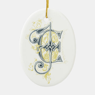 EJ or JE Vintage Monogram in Blue and Yellow Ceramic Oval Ornament