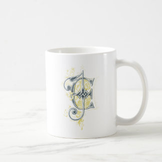 EJ or JE Vintage Monogram in Blue and Yellow Classic White Coffee Mug