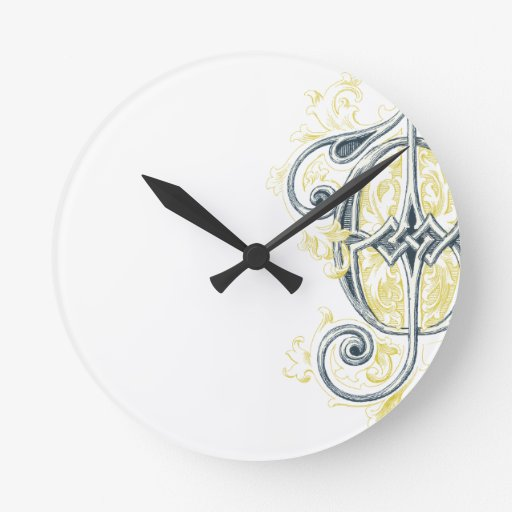 EJ or JE Vintage Monogram in Blue and Yellow Wall Clocks