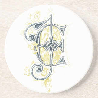 EJ or JE Vintage Monogram in Blue and Yellow Coaster