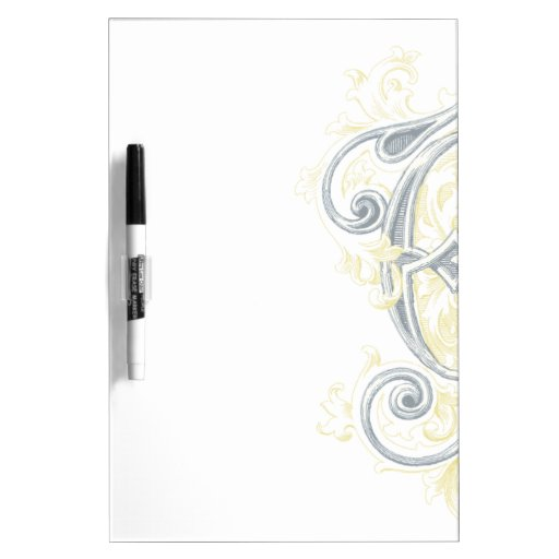 EJ or JE Vintage Monogram in Blue and Yellow Dry-Erase Whiteboard