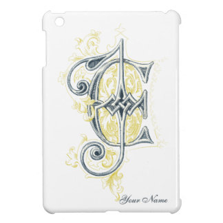 EJ or JE Vintage Monogram in Blue and Yellow iPad Mini Case