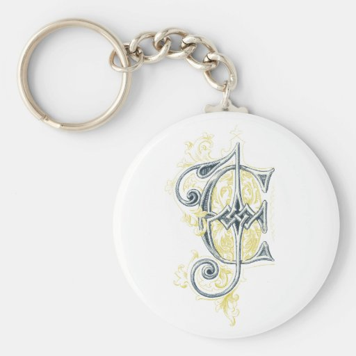 EJ or JE Vintage Monogram in Blue and Yellow Keychains