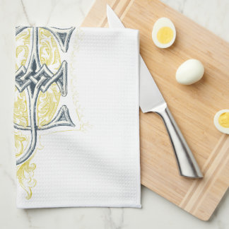 EJ or JE Vintage Monogram in Blue and Yellow Kitchen Towel