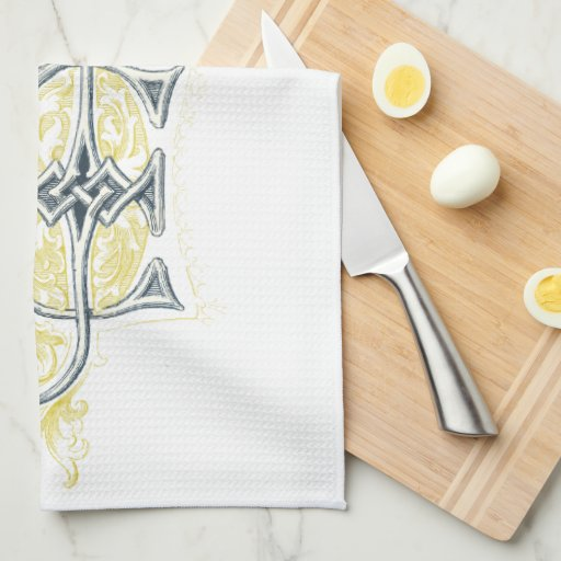 EJ or JE Vintage Monogram in Blue and Yellow Hand Towel