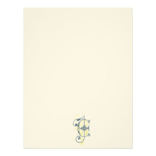 EJ or JE Vintage Monogram in Blue and Yellow Custom Letterhead