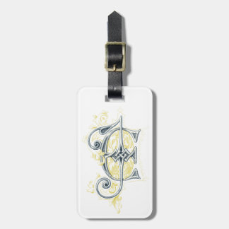 EJ or JE Vintage Monogram in Blue and Yellow Luggage Tag