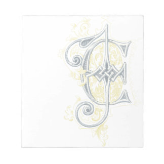 EJ or JE Vintage Monogram in Blue and Yellow Memo Pads