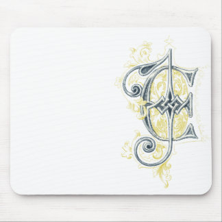 EJ or JE Vintage Monogram in Blue and Yellow Mouse Pad