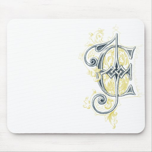 EJ or JE Vintage Monogram in Blue and Yellow Mouse Pads