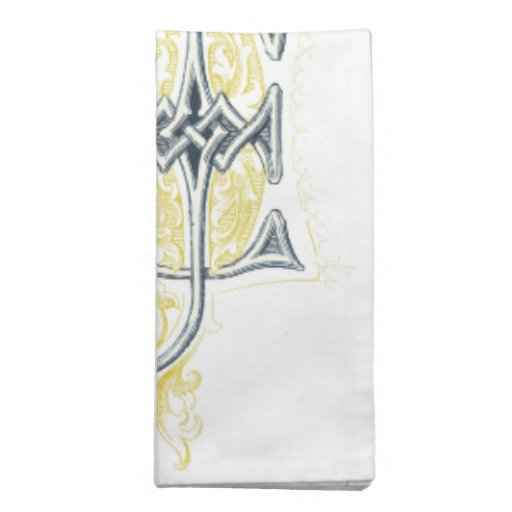 EJ or JE Vintage Monogram in Blue and Yellow Printed Napkin