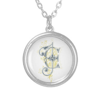 EJ or JE Vintage Monogram in Blue and Yellow Jewelry